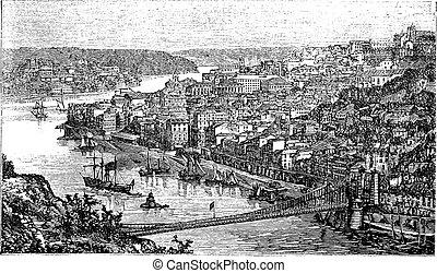 Oporto City, Portugal, vintage engraving - Oporto City,...