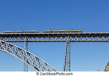 oporto, underjordisk, gamle, jern, bro