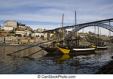 Oporto View with D. Luis Bridge - View from Oporto city in...