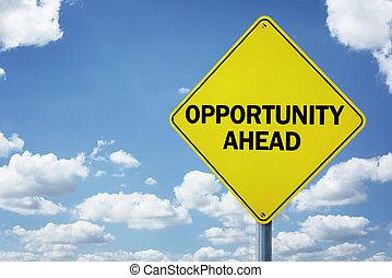 oportunidad, adelante, muestra del camino