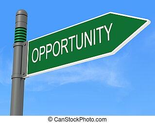 oportunidad, camino, signpos
