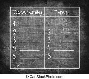 oportunidad, y, amenaza, lista, comparación, en, pizarra