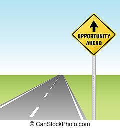 oportunidade, à frente, sinal tráfego, ligado, rodovia