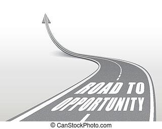 oportunidade, palavras, estrada, rodovia