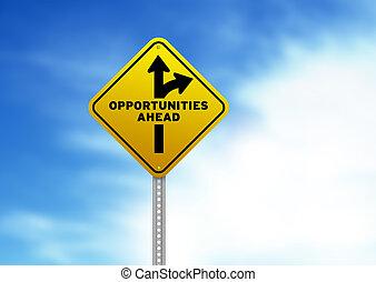 oportunidades, adelante, muestra del camino