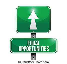 oportunidades iguales, señal, diseño, ilustraciones, camino