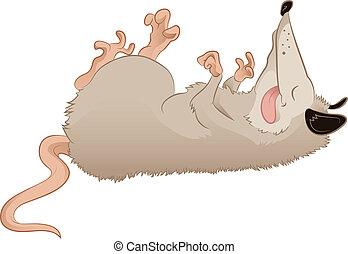 Opossum - Vector image of a cartoon deadlike Opossum