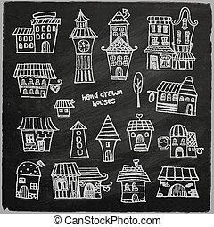 opowiadanie, domy, wróżka, wektor, chalkboard