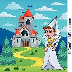 opowiadanie, zamek, dama, średniowieczny, wróżka