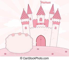 opowiadanie, zamek, wróżka, tło, rysunek