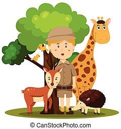 oppasser, dierentuin, illustrator, man