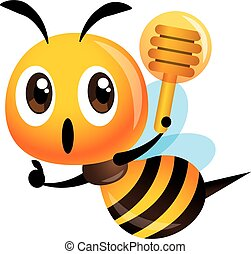 oppe, dypper, tegn, cute, hånd, bi, honning, tommelfinger, vektor, holde, -