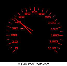 oppe få, til, hastighed