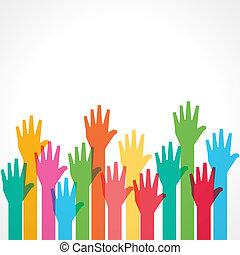 oppe, farverig, baggrund, hånd