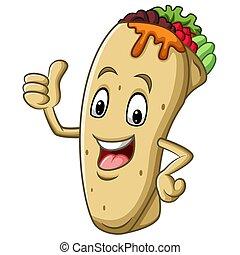 oppe, give, mascot, burrito, cartoon, tommelfinger