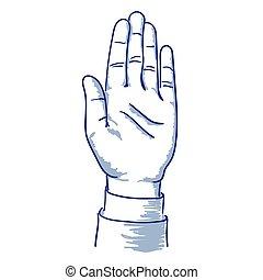 oppe, hånd