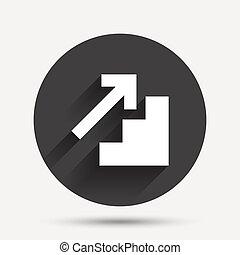oppe, icon., tegn., pil, ovenpå