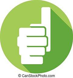 oppe, ikon, viser, tommelfingre, lejlighed, hånd