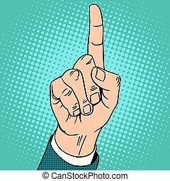oppe, indeks, gestus, finger