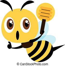 oppe, konstruktion, dypper, cute, lejlighed, hånd, bi, honning, tommelfinger, holde, vektor, illustration., tegn.