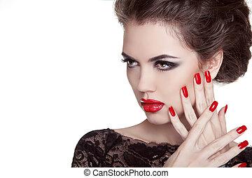 oppe., kvinde, nails., lips., forarbejde, isoleret, glans, mode, portrait., baggrund, manicured, hvid rød