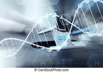 oppe, laboratorium., hånd, udsnit, videnskabsmand, prøve,...