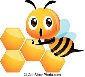 oppe, madopskriften, sød, glade, cute, bi, tommelfinger, vektor, -, honeycomb