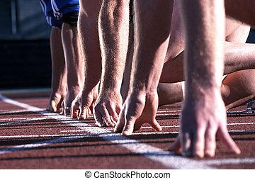 oppe, race., start, hænder, atletik, beklæde, løbere
