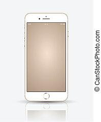 oppe., smartphone, guld, mock