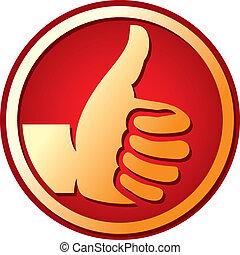 oppe, symbol, -, ligesom, tommelfingre