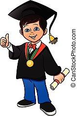 oppe, tommelfinger, gratulationer, ung dreng, graduere