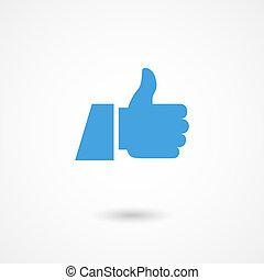 oppe, tommelfinger, ikon