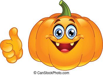 oppe, tommelfinger, pumpkin