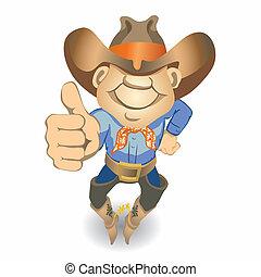 oppe, tommelfingre, (vector), cowboy