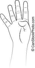 oppe, vektor, fire, fingre, hånd