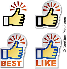 oppe, vektor, stickers, tommelfinger, hånd
