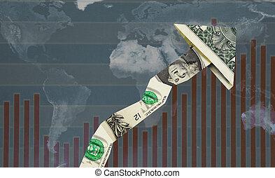 oppe, verden, dollar