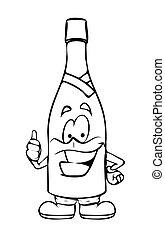 oppe, viser, champagne, tommelfingre, cartoon