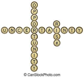opportunità, incertezza, rischio