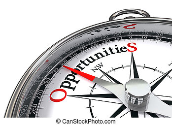 opportunities way indicated by concept compass on white background