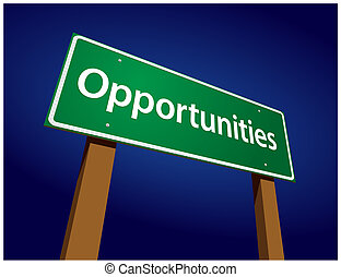Opportunities Green Road Sign Illustration on a Radiant Blue...