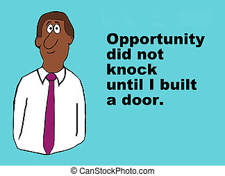 Business illustration about opportunity and open mind.