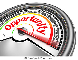 opportunity conceptual meter indicate maximum, isolated on white background