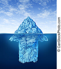 Opportunity discovery as a business symbol represented by an iceberg with an arrow shape hidden under the water as a concept of smart investment advice for future potential growth.
