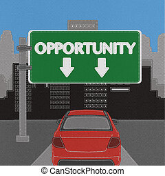 Opportunity highway sign concept with stitch style on fabric background