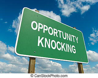 Opportunity knocking - A road sign with opportunity knocking...