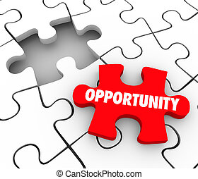 Opportunity Puzzle Piece Job Opening Success Promotion Achieve Goal