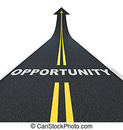 Opportunity road - 3D render of arrow road with opportunity ...