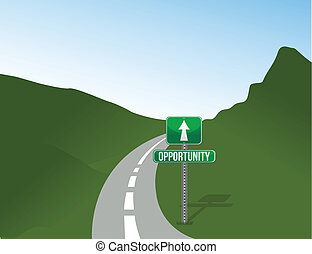 Opportunity road with sign landscape illustration