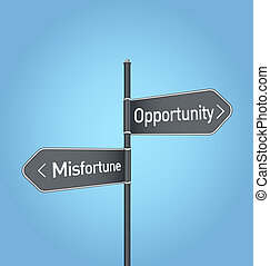 Opportunity vs misfortune choice road sign on blue background